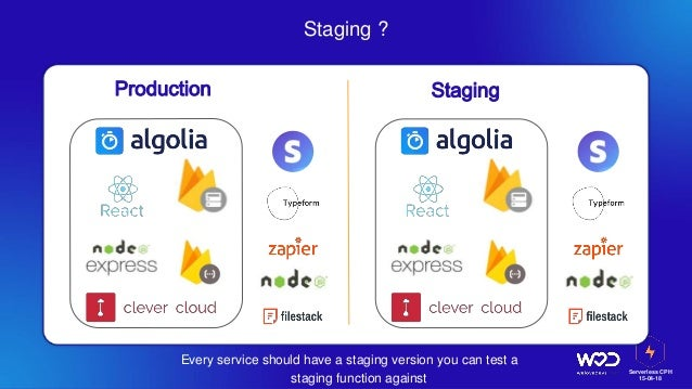 Serverless CPH 15-04-18 Staging ? Every service should have a staging version you can test a staging function against