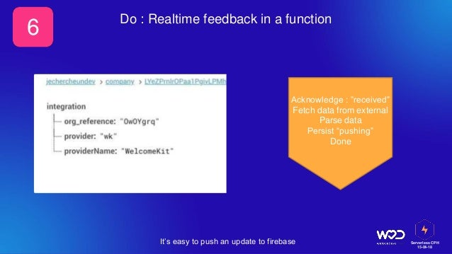 """Serverless CPH 15-04-18 Do : Realtime feedback in a function It's easy to push an update to firebase 6 Acknowledge : """"rece..."""