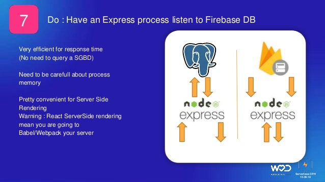 Serverless CPH 15-04-18 Do : Have an Express process listen to Firebase DB Very efficient for response time (No need to qu...