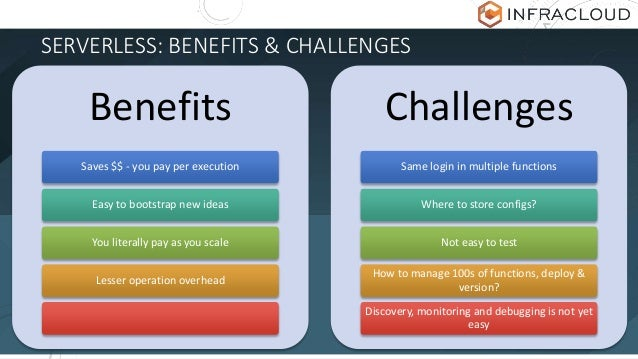 SERVERLESS: BENEFITS & CHALLENGES Benefits Saves $$ - you pay per execution Easy to bootstrap new ideas You literally pay ...
