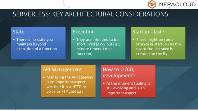 SERVERLESS: KEY ARCHITECTURAL CONSIDERATIONS State • There is no state you maintain beyond execution of a function Executi...