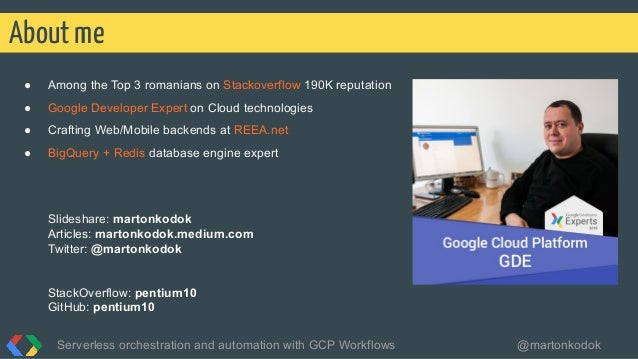 ● Among the Top 3 romanians on Stackoverflow 190K reputation ● Google Developer Expert on Cloud technologies ● Crafting We...