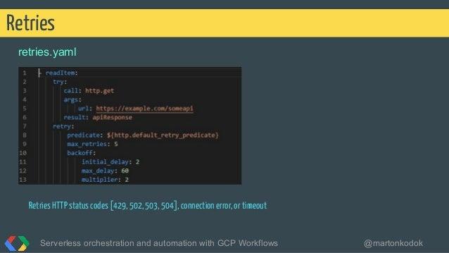 retries.yaml Retries Serverless orchestration and automation with GCP Workflows @martonkodok Retries HTTP status codes [42...