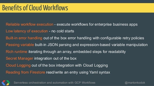 Reliable workflow execution - execute workflows for enterprise business apps Low latency of execution - no cold starts Bui...