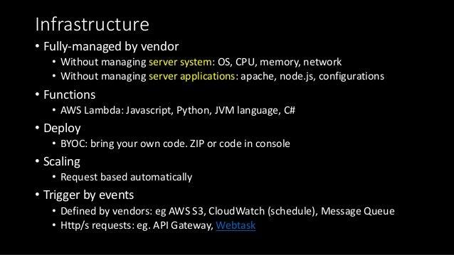 Infrastructure • Fully-managedbyvendor • Withoutmanagingserversystem:OS,CPU,memory,network • Withoutmanagingser...