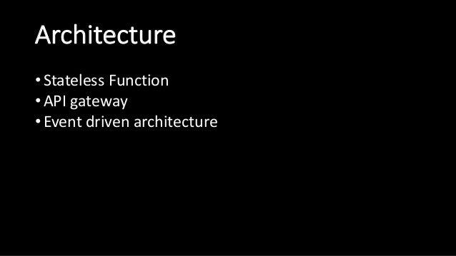 Architecture • StatelessFunction • APIgateway • Eventdrivenarchitecture