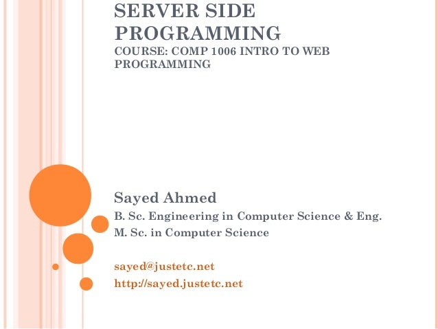 the user side and server side factors computer science essay Server-side scripting is a web technology that allows custom html to be delivered to a client machine where the code that generates the custom html is processed on the web server before the html is sent to the client side scripting can access files and settings that are local at the user computer.