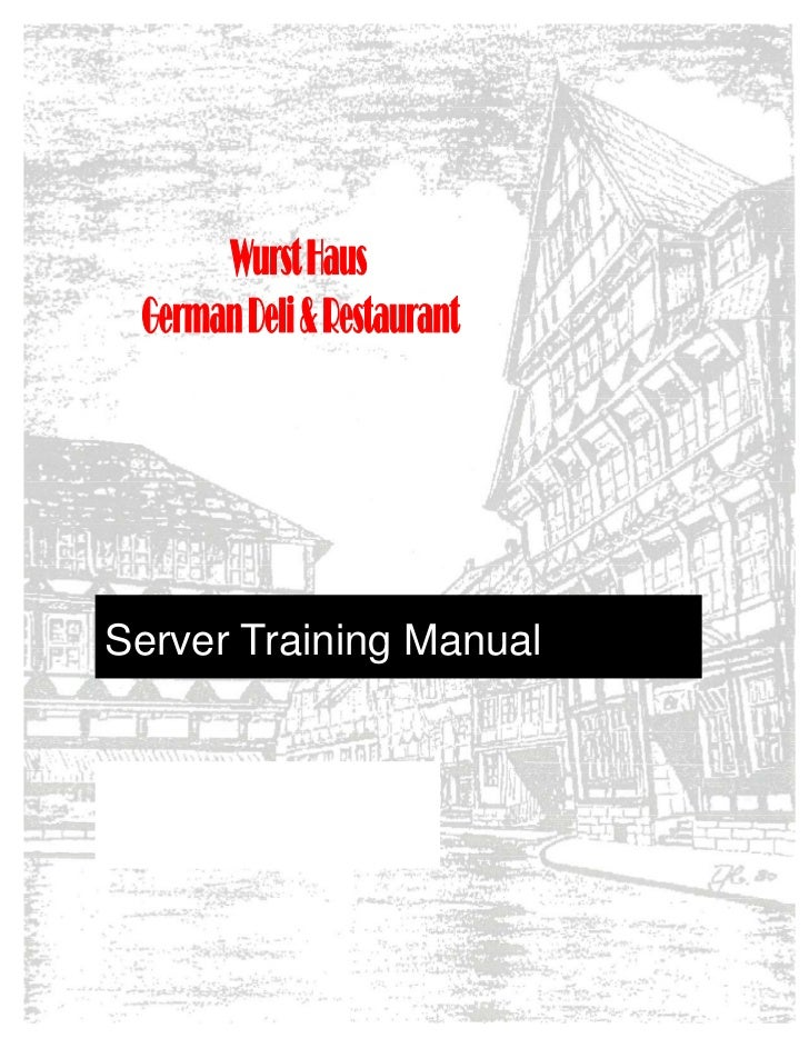 server training manual with washout rh slideshare net  Schmidt's Sausage Haus