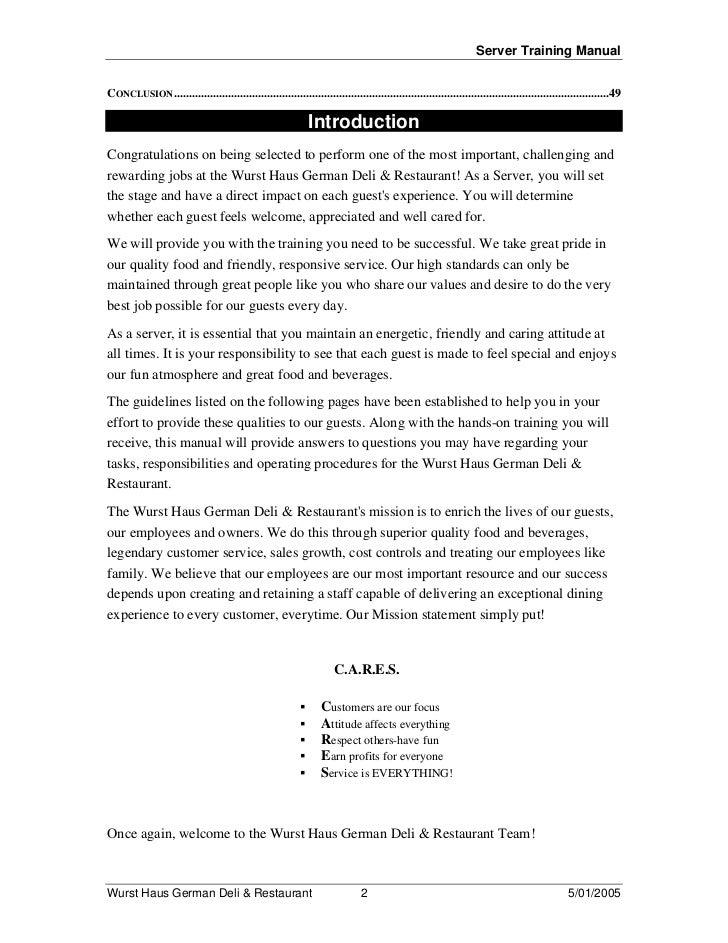 restaurant server training manual pdf