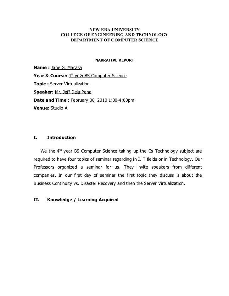 Sample Narrative report for seminars