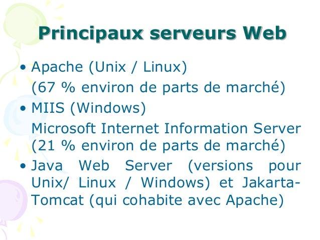 Principaux serveurs Web • Apache (Unix / Linux) (67 % environ de parts de marché) • MIIS (Windows) Microsoft Internet Info...