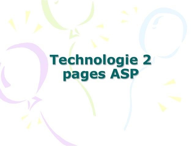 Technologie 2 pages ASP