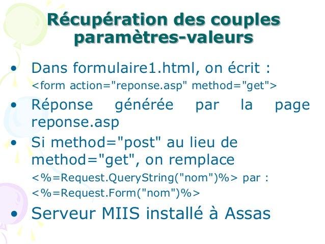 """Récupération des couples paramètres-valeurs • Dans formulaire1.html, on écrit : <form action=""""reponse.asp"""" method=""""get""""> •..."""