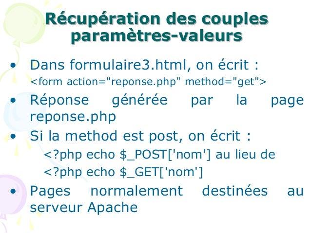 """Récupération des couples paramètres-valeurs • Dans formulaire3.html, on écrit : <form action=""""reponse.php"""" method=""""get""""> •..."""