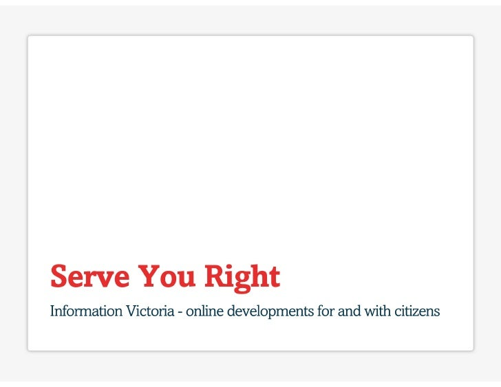 Information Victoria - online developments for and with citizens