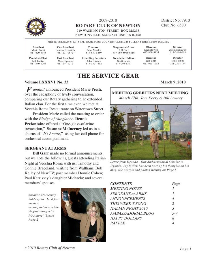 2009-2010                                      District No. 7910                                             ROTARY CLUB O...
