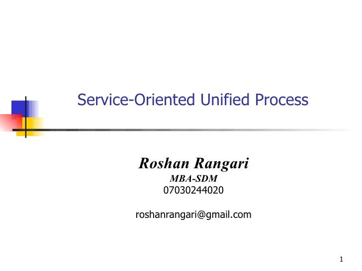 Service-Oriented Unified Process Roshan Rangari MBA-SDM 07030244020 [email_address]