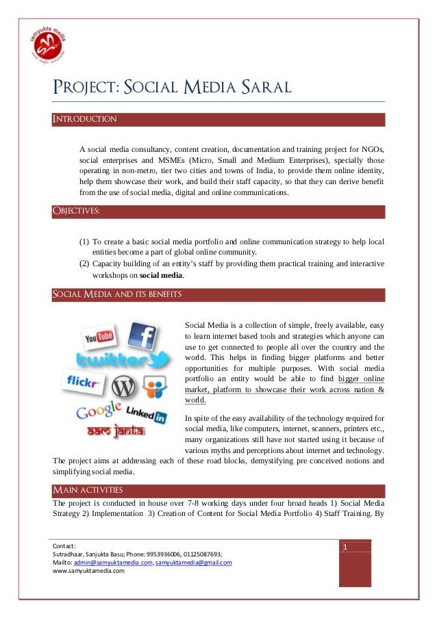 Project: Social Media SaralIntroduction        A social media consultancy, content creation, documentation and training pr...