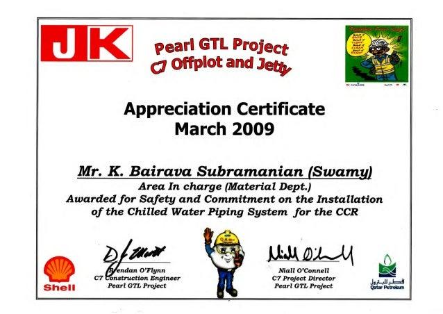 safety appreciation certificate