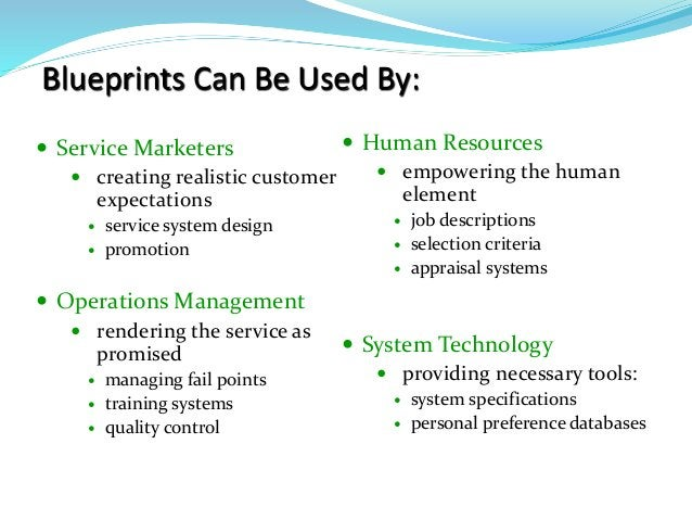 Blueprints Can Be Used By:  Service Marketers  creating realistic customer expectations  service system design  promot...