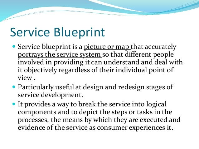 Service Blueprint  Service blueprint is a picture or map that accurately portrays the service system so that different pe...