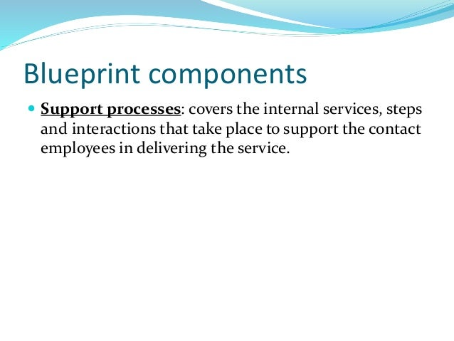 Blueprint components  Support processes: covers the internal services, steps and interactions that take place to support ...