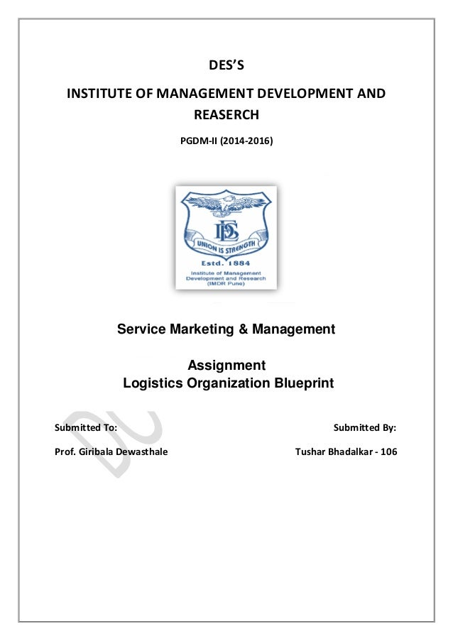 Service blueprint supply chain logistics dhl dess institute of management development and reaserch pgdm ii 2014 2016 service malvernweather