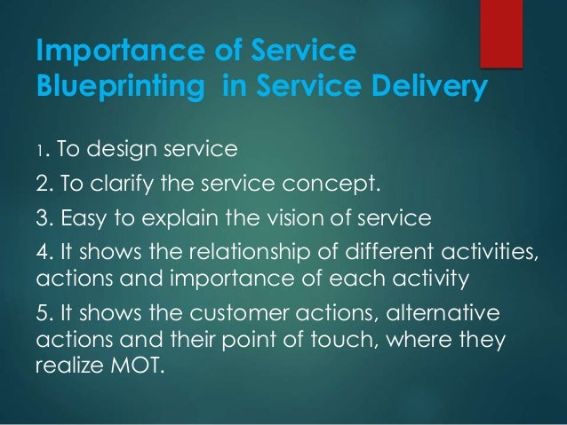Importance of Service Blueprinting in Service Delivery 1. To design service 2. To clarify the service concept. 3. Easy to ...
