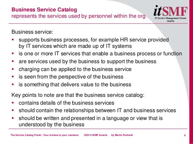 The Service Catalog Portal Your Window To Your Customer