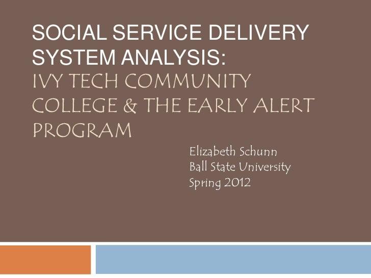 SOCIAL SERVICE DELIVERYSYSTEM ANALYSIS:IVY TECH COMMUNITYCOLLEGE & THE EARLY ALERTPROGRAM             Elizabeth Schunn    ...