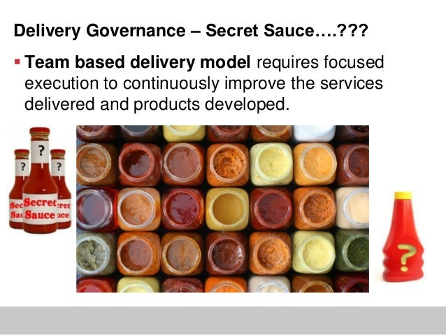 Delivery Governance – Secret Sauce….??? Team based delivery model requires focusedexecution to continuously improve the s...