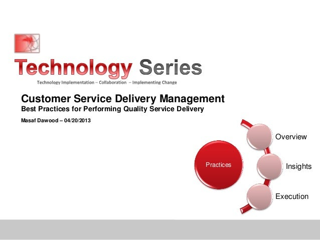 Customer Service Delivery ManagementBest Practices for Performing Quality Service DeliveryMasaf Dawood – 04/20/2013Practic...