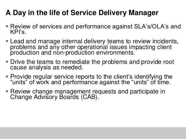 relatedcommunicationcommunicationescalationslas andkpisdelivery 9 a day in the life of service delivery manager