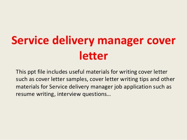 sample service delivery manager cover letter - Zoray.ayodhya.co