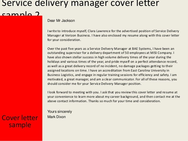Beautiful Yours Sincerely; 3. Service Delivery Manager Cover Letter ...