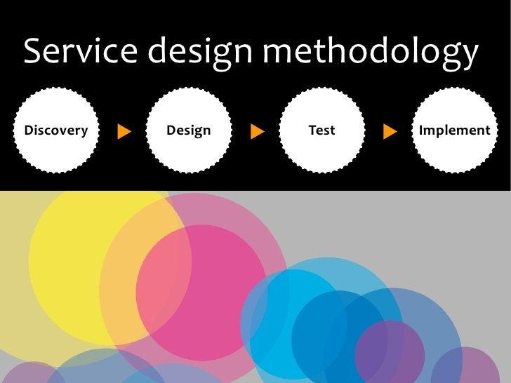 Service design methodology Discovery   Design   Test   Implement