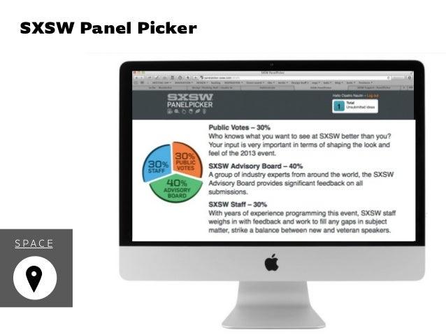 Event Experience DesignSXSW Panel Picker S PAC E