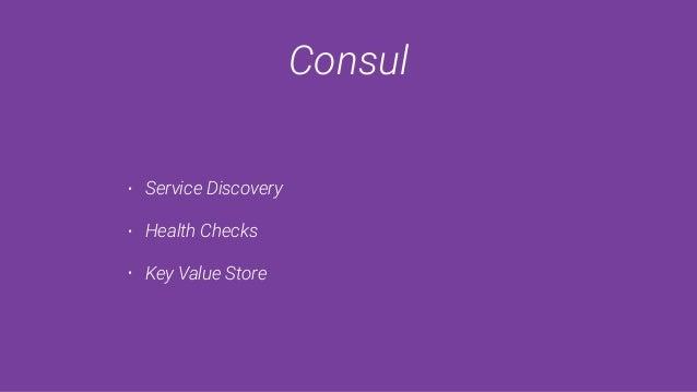 Consul • Service Discovery • Health Checks • Key Value Store
