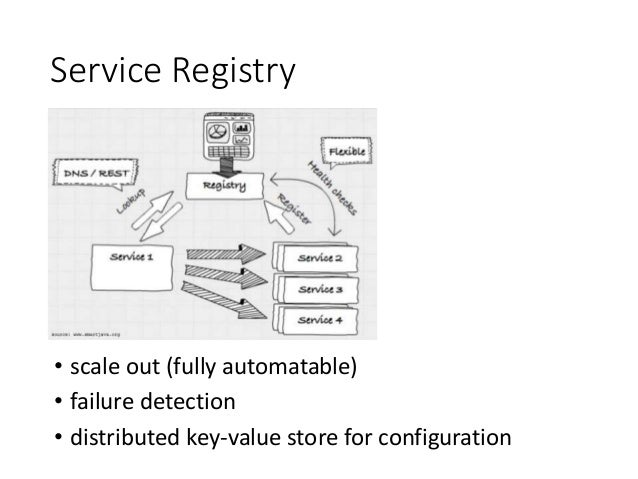 Service Registry • scale out (fully automatable) • failure detection • distributed key-value store for configuration