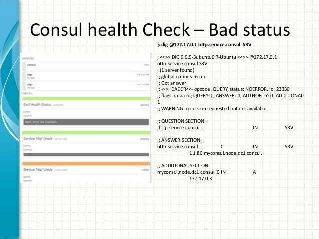 Service discovery using etcd consul and kubernetes for Consul http health check