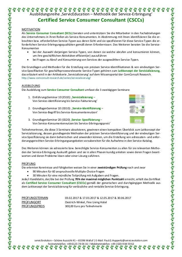Ausbildungsreihe 'ServicEducation – Methodik der Service-Erbringung' Certified Service Consumer Consultant (CSCCs) servicE...