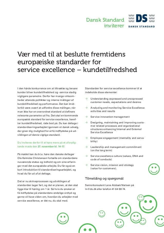 Dansk Standard inviterer  Vær med til at beslutte fremtidens europæiske standarder for service excellence – kundetilfredsh...