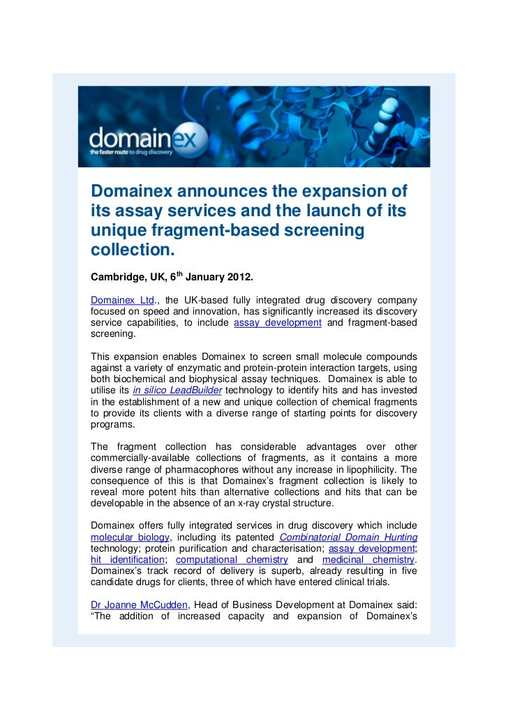 Domainex announces the expansion ofits assay services and the launch of itsunique fragment-based screeningcollection.Cambr...