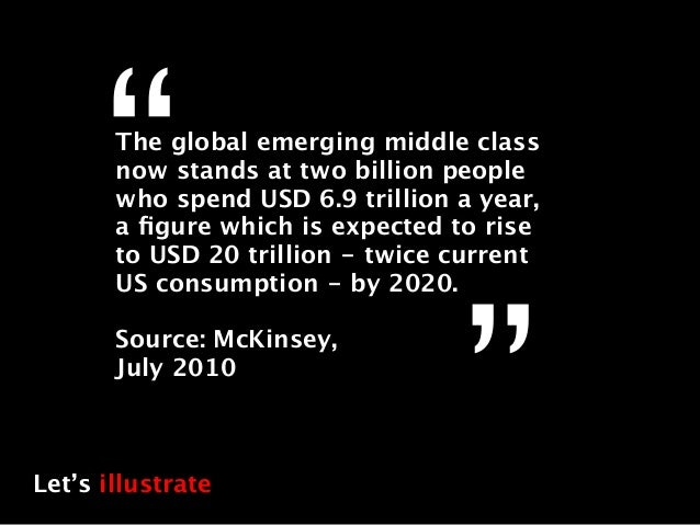 """""""The global emerging middle class       now stands at two billion people       who spend USD 6.9 trillion a year,       a ..."""