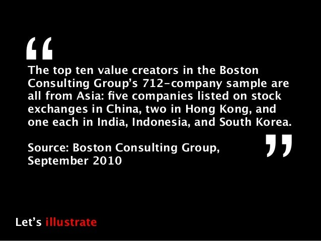"""""""The top ten value creators in the Boston  Consulting Group's 712-company sample are  all from Asia: five companies listed ..."""