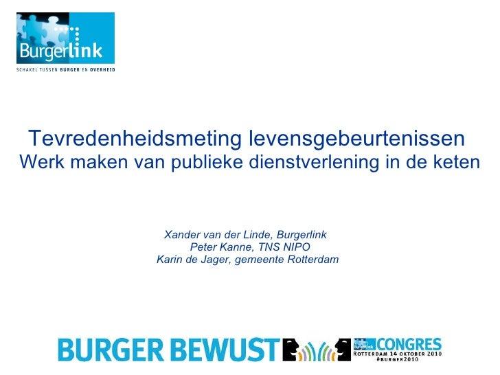 Tevredenheidsmeting levensgebeurtenissen  Werk maken van publieke dienstverlening in de keten Xander van der Linde, Burger...