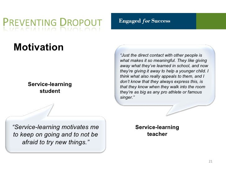 Engaged for Success: Service-Learning as a Tool for High