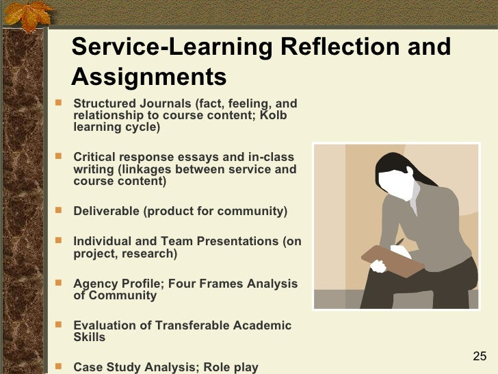 essay on learning service The essay questions provided at the beginning of the project (in journal guidelines) and your journal entries will be used to create your service-learning reflective research paper.