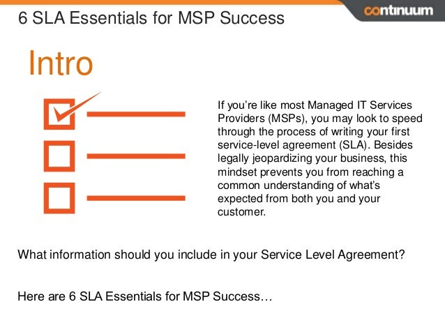 Beau Service Level Agreements 6 SLA Essentials For MSP Success; 2.