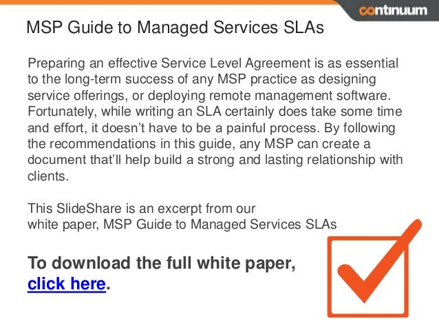 Service level agreements 6 sla essentials for msp success for Managed service provider contract template